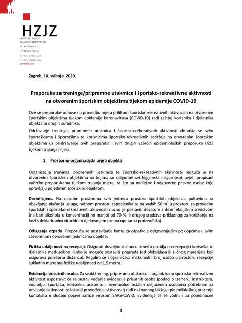 Preporuka za treninge, pripremne utakmice i športsko-rekreativne aktivnosti na otvorenim športskim objektima  tijekom epidemije  COVID-19